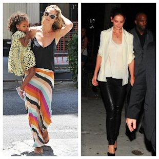 Heidi Klum and Katie Holmes wear a different Holmes & Yang camisole two ways. (Holmes & Yang/Facebook)