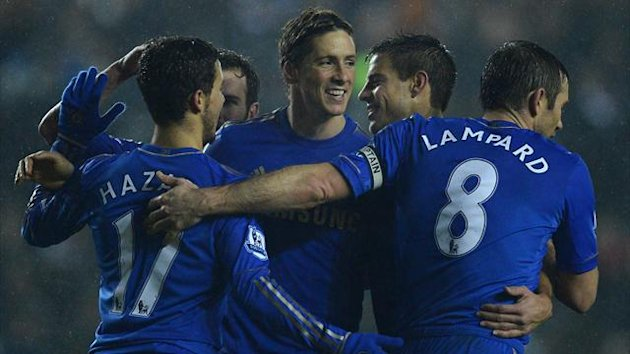 Fernando Torres celebrates with Frank Lampard, Eden Hazard and others after scoring for Chelsea in the League Cup