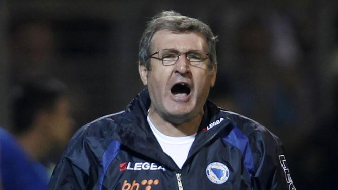Bosnia coach Safet Susic shouts during their 2014 World Cup qualifying soccer match against Slovakia in Zenica