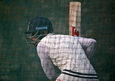 India's captain Kohli bats in the nets during a practice session ahead of their fourth and final test cricket match against South Africa in New Delhi