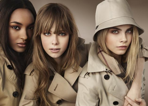 Cara Delevingne, Jourdan Dunn and Edie Campbell are Burberry's new beauties