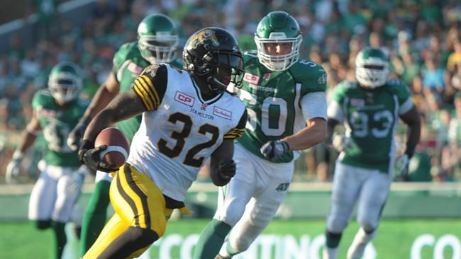 Hamilton Tiger-Cats C.J. Gable picks up yards against the Saskatchewan Roughriders during second half CFL action in Regina on Sunday, July 26, 2015. THE CANADIAN PRESS/Mark Taylor
