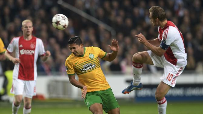 Celtic's Izaguirre heads the ball past Ajax Amsterdam's de Jong during their Champions League soccer match at Amsterdam Arena