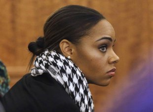 Shayanna Jenkins watches during the murder trial for Aaron Hernandez. (REUTERS