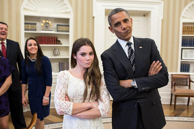 "WASHINGTON, DC - NOVEMBER 15: In this handout image provided by The White House, U.S. President Barack Obama jokingly mimics U.S. Olympic gymnast McKayla Maroney's ""not impressed"" expression while greeting members of the 2012 U.S. Olympic gymnastics teams in the Oval Office November 15, 2012 at the White House in Washington, DC. Maroney's expression became an internet sensation when during the ceremony for her 2012 Olympic vault silver medal she was photographed giving a brief look of disappointment with her lips pursed to the side. Steve Penny, USA Gymnastics President, and Savannah Vinsant laugh at left. (Photo by Pete Souza/The White House via Getty Images)"