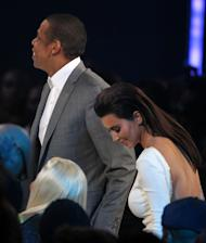 Jay-Z, left, and Kim Kardashian are seen at the BET Awards on Sunday, July 1, 2012, in Los Angeles. (Photo by Matt Sayles/Invision/AP)