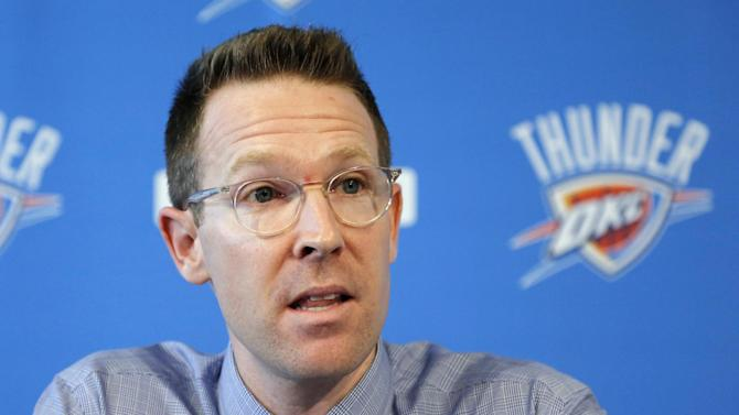 Sam Presti, general manager of the NBA's Oklahoma City Thunder basketball team, answers questions during a news conference in Oklahoma City, Wednesday, Sept. 25, 2013