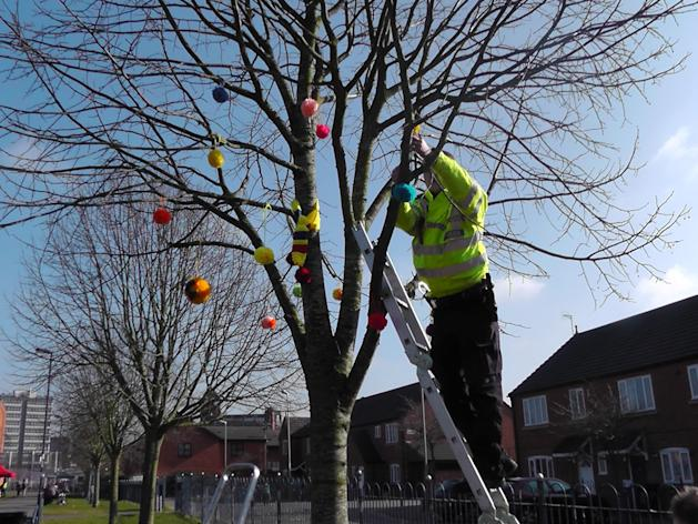Taking back the community: Police unleash their 'guerrilla knitting' initiative on the Leicester public (Leicestershire Police)