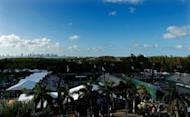Skyline of Miami is seen during Day 4 of the Sony Ericsson Open at Crandon Park Tennis Center, on March 22, in Key Biscayne, Florida. Serena Williams, saying she felt nervous and rusty, made a triumphant WTA return from a left ankle injury, defeating China's Zhang Shuai 6-2, 6-3 at the WTA and ATP Miami hardcourt event