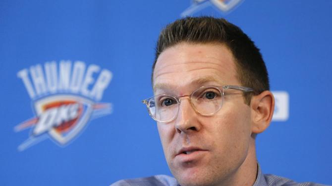 Sam Presti, general manager of the NBA's Oklahoma City Thunder basketball team, answers questions during a news conference in Oklahoma City, Wednesday, Sept. 25, 2013. Thunder starter Russell Westbrook, injured during the playoffs, has not yet been medically cleared for basketball activity