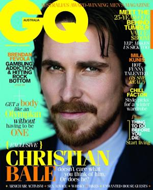 Christian Bale on the June/July cover of GQ Austrlia, 2012 -- Nathaniel Goldberg/TrunkArchive.com/Snapper Media