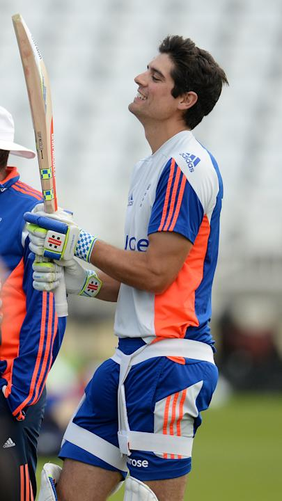England's Alastair Cook during a training session