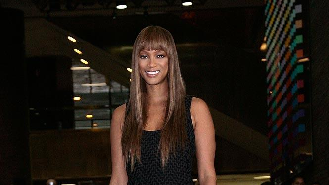 Tyra Banks hosts a runway showcase at Port Authority Transportation Hub during New York Fashion Week to bring the fashion show experience to the general public.