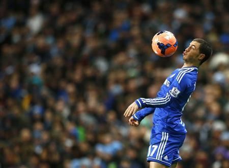 Chelsea's Hazard controls the ball during their English FA Cup fifth round soccer match against Manchester City at the Etihad Stadium in Manchester, northern England