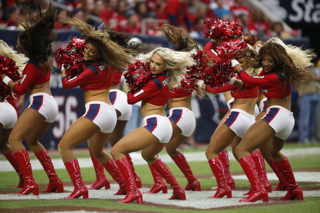 The Houston Texans cheerleaders perform during the second quarter of an NFL football game, Sunday, Nov. 2, 2014, in Houston. (AP Photo/Tony Gutierrez)