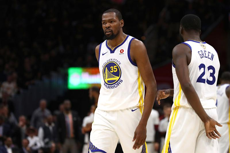Kevin Durant had 43 points and 13 rebounds in the Warriors' Game 3 victory over the Cavaliers. (Getty)