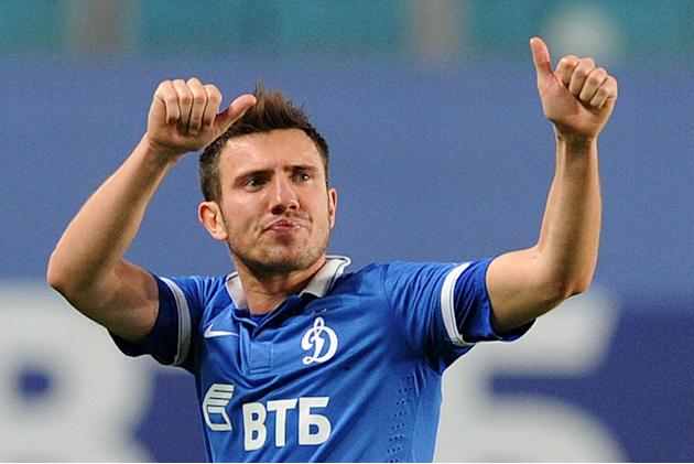 Dinamo Moskva's defender Boris Rotenberg gesturing during the Russian Premier League round 23 football match Dinamo Moskva vs Mordovia Saransk in Khimki, outside Moscow