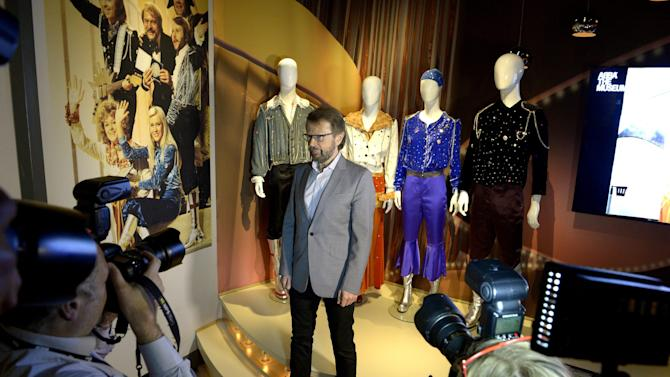 """Bjorn Ulvaeus, former member of the Swedish music group ABBA, is photographed during a press preview of 'ABBA The Museum' at the Swedish Music Hall of Fame in Stockholm, Sweden, Monday May 6, 2013. A museum opens in Stockholm on Tuesday to show off band paraphernalia, including the helicopter featured on the cover of their """"Arrival"""" album, a star-shaped guitar and dozens of glitzy costumes the Swedish band wore at the height of its 1970s fame. (AP Photo/Scanpix Sweden/Janerik Henriksson) SWEDEN OUT"""