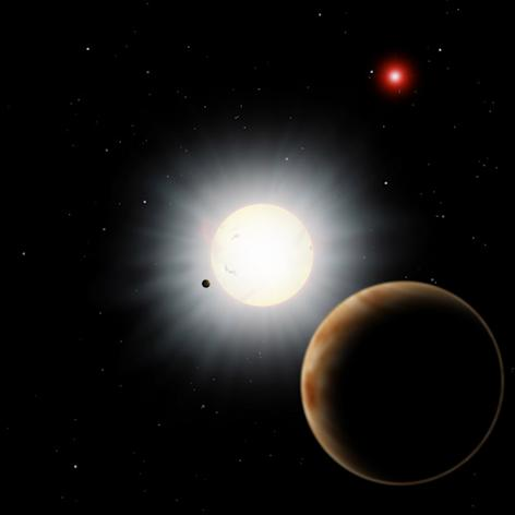 """This planet's odd orbit can be explained by a series of gravitational dominoes that make the planet orbit around its star """"backwards."""""""