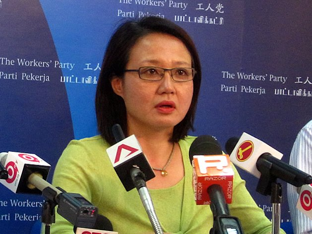 WP Chairman Sylvia Lim speaks at a press conference. (Yahoo! file photo)