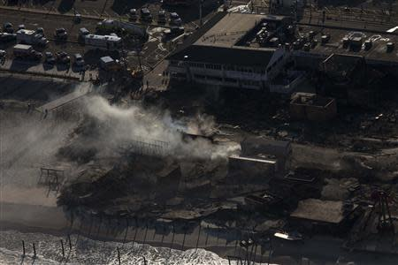 The aftermath of a boardwalk fire is seen in this aerial photograph over Seaside Park