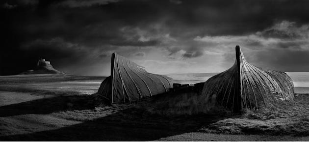 "Lindisfarne, Northumberland: David Byrne's said his captivating image, which was the overall winner, was taken because ""I love monochrome landscapes and Britain has some of the best landscapes you can"