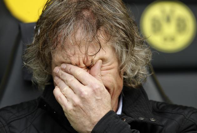 File photo of Nuremberg coach Verbeek before German first division Bundesliga soccer match against Borussia Dortmund