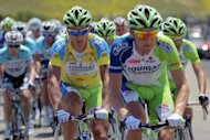 Peter Sagan of Slovakia rides under the protection of his teammates in the peloton during stage three of the Amgen Tour of California from San Jose to Livermore on May 15, 2012 in Livermore, California. Sagan won the stage, his third in as many days, as he defended the overall race leaders jersey