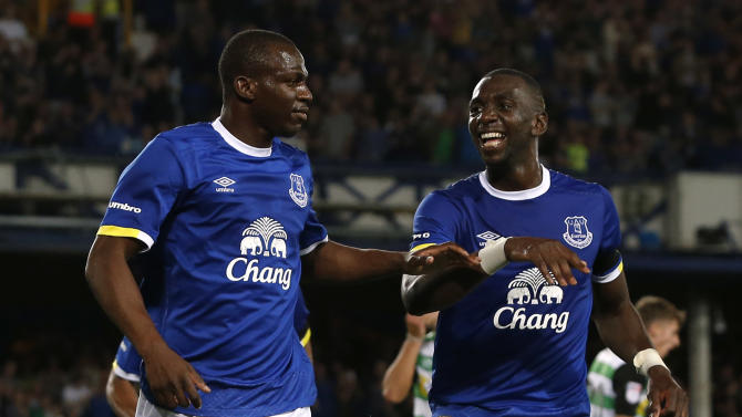 Everton's Arouna Kone celebrates scoring their fourth goal