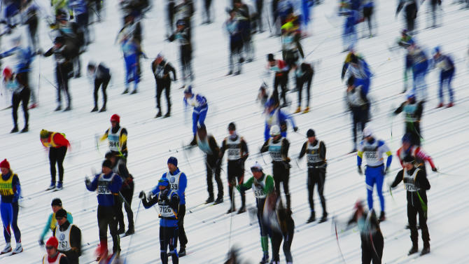Some of the 15.800 skiers take the start of the 88th Vasaloppet cross country ski marathon in Mora on March 4, 2012. Vasaloppet is an annual long distance (90km) cross-country ski marathon held on the first Sunday of March in northwestern Dalarna, Sweden between the village of Salen and town of Mora. It is the oldest, one of the longest, and in popular consideration the biggest cross-country ski race in the world. AFP PHOTO / JONATHAN NACKSTRAND (Photo credit should read JONATHAN NACKSTRAND/AFP/Getty Images)