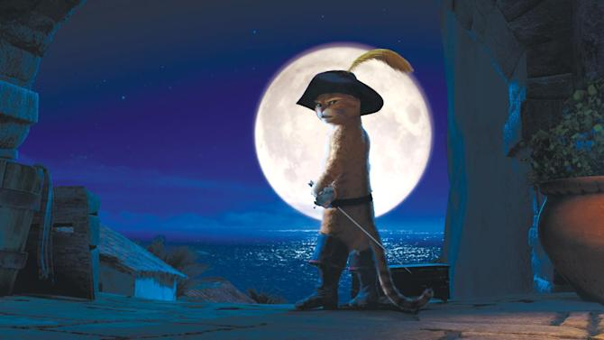 "In this image released by Paramount Pictures, Puss in Boots, voiced by Antonio Banderas, is shown in a scene from ""Puss in Boots."" The film was nominated Monday, Dec. 5, 2011, for best animated film at the Annie Awards. Presented by the International Animated Film Society, the Annie Awards will be handed out Feb. 4 at a ceremony in Los Angeles. (AP Photo/Paramount Pictures)"