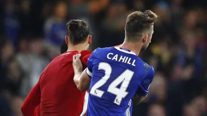 Manchester United's Zlatan Ibrahimovic and Chelsea's Gary Cahill at the end of the match
