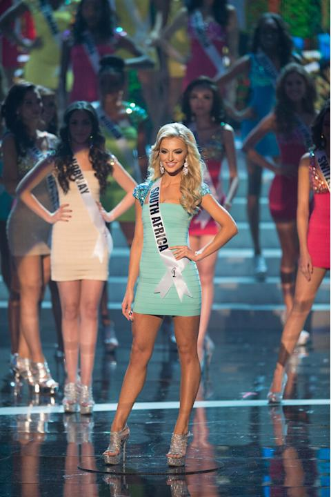 Miss Universe South Africa 2012, Melinda Bam, is announced as one of the top sixteen contestants in her Sherri Hill dress and Chinese Laundry shoes during this year's LIVE NBC Telecast of the 2012 Mis