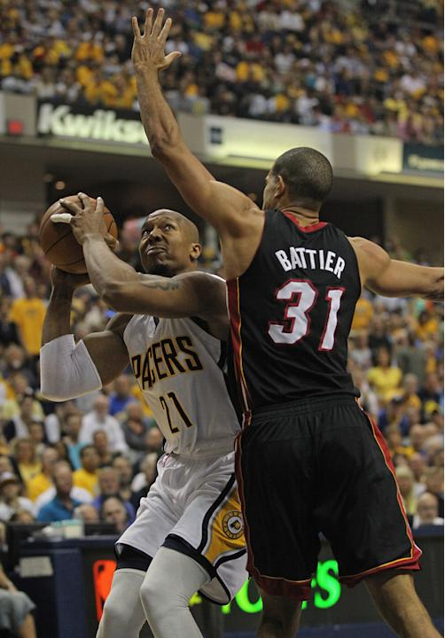 David West #21 Of The Indiana Pacers Tries Getty Images