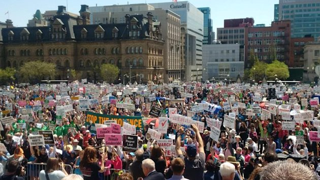 Anti-abortion campaigners on Parliament Hill.