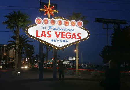 File photo of a view of the 'Welcome To Fabulous Las Vegas' neon sign is seen before Earth Hour in Las Vegas