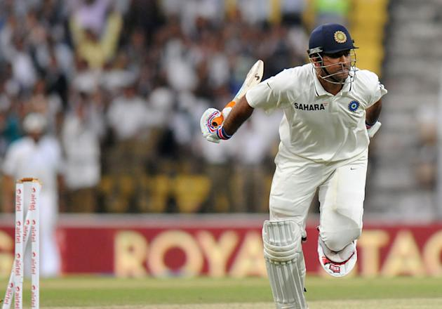 Mahendra Singh Dhoni is run out on Day 4 of the fourth Test between India and England at the Jamtha Stadium in Nagpur, Monday, December 17, 2012 (c) BCCI