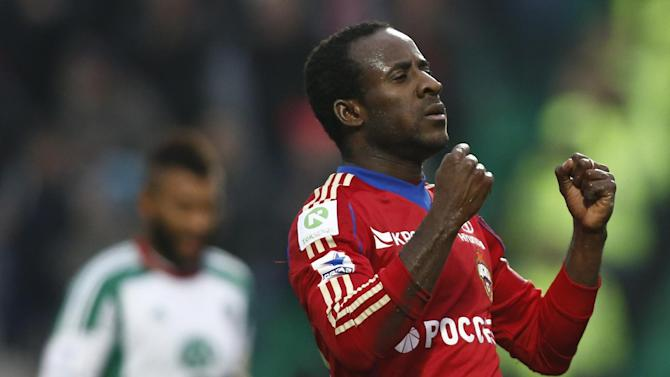 CSKA Moscow's Seydou Doumbia celebrates after scoring a goal during a Russian Premier League Championship soccer match between CSKA Moscow and Terek Grozny at a stadium in Moscow, Russia, Sunday, Nov. 10, 2013. CSKA won 4-1