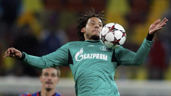 Schalke 04's Jones controls the ball during their Champions League soccer match against Steaua Bucharest in Bucharest