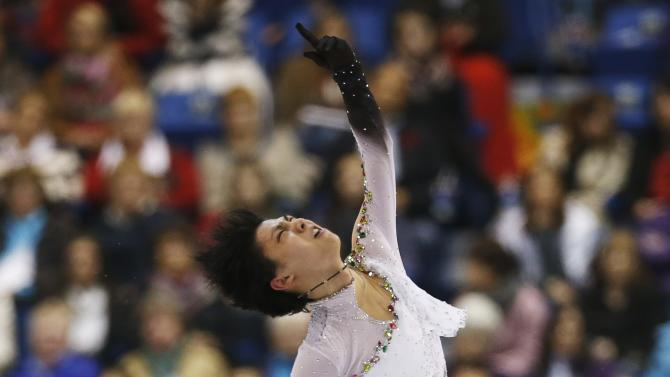 Yuzuru Hanyu of Japan competes in his free skate men's program during the Skate Canada International figure skating competition in Saint John
