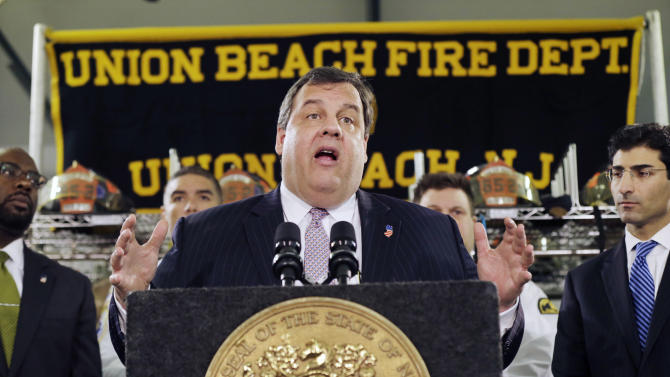 "New Jersey Gov. Chris Christie addresses a gathering of residents and others in Union Beach, N.J., Tuesday, Feb. 5, 2013. Christie said Tuesday the National Flood Insurance Program's handling of claims in New Jersey ""has stunk,"" complaining that the program has been far too slow to resolve claims from Superstorm Sandy, with 70 percent of cases unresolved three months after the disaster. (AP Photo/Mel Evans)"