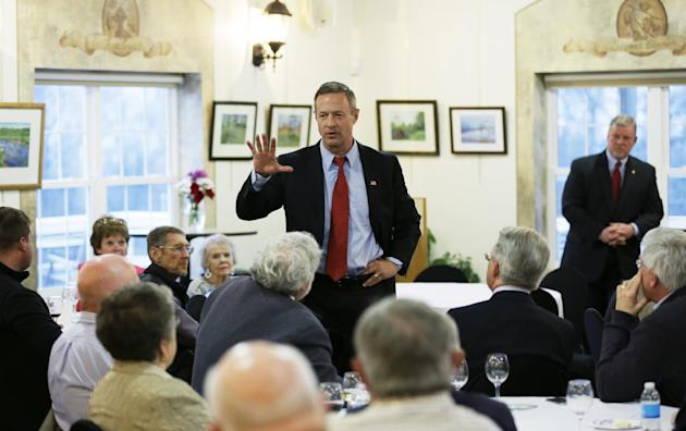 FILE - In this April 9, 2015 file photo, former Maryland Gov. Martin O'Malley speaks to local residents in Indianola, Iowa. Once he announces his presidential decision, Martin O'Malley will waste