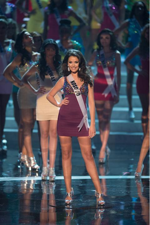 Miss Universe Kosovo 2012, Diana Avdiu, is announced as one of the top sixteen contestants in her Sherri Hill dress and Chinese Laundry shoes during this year's LIVE NBC Telecast of the 2012 Miss Univ