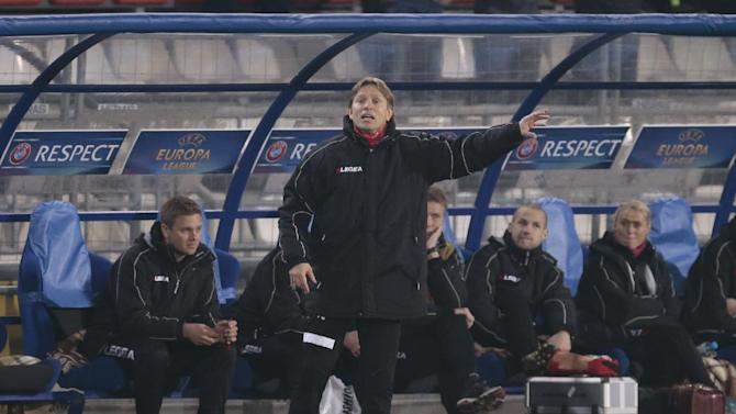 Tromso's coach Steinar Nilsen directs his team during the Europa League group K soccer match between Anzhi Makhachkala and Tromso IL at Saturn stadium in Ramenskoye, outside Moscow, in Russia, on Thursday, Oct. 24, 2013
