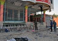 The entrance to a damaged wedding hall, where a suicide bomber detonated himself killing a prominent Afghan lawmaker and 16 other people in Aybak city, capital of Samangan province, on Saturday
