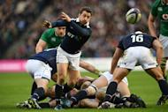 Scotland scrum-half Greig Laidlaw passes the ball during the Six Nations match against Ireland at Murrayfield in Edinburgh on Febuary 4, 2017