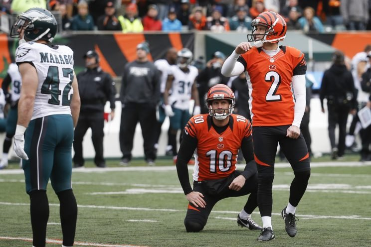 Mike Nugent missed his fourth extra point in three games (AP)
