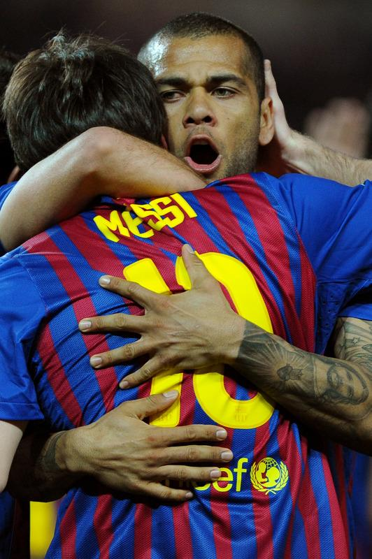Barcelona's Argentinian Forward Lionel Messi (L) Celebrates AFP/Getty Images