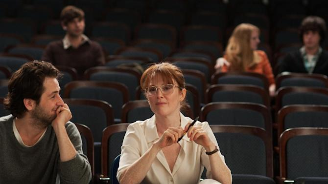 "This undated publicity photo released by courtesy of Cinedigm shows Michael Angarano, left, as Jason Sherwood and Julianne Moore as Linda Sinclare in the film, ""The English Teacher,"" directed by Craig Zisk. (AP Photo/Cinedigm, Nicole Rivelli)"