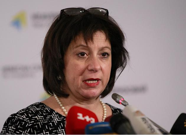 FILE - Ukraine's recently appointed Finance Minister Natalie Jaresko, a U.S. national who adopted Ukrainian citizenship to take up her post, speaks at a news conference in Kiev, Ukraine, in this Feb.